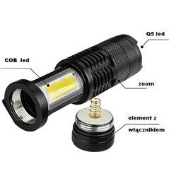 Latarka Q5 + COB mini czarna