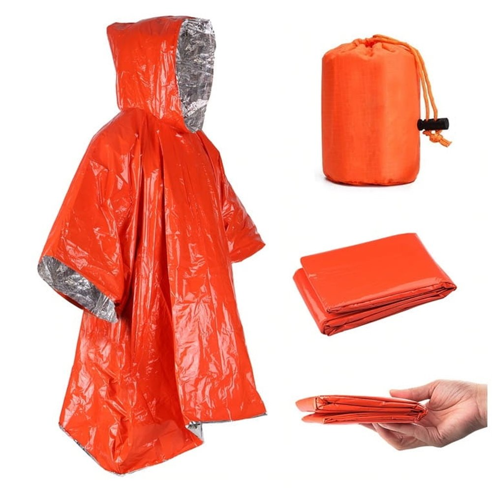 Pomarańczowa peleryna ratunkowa z kapturem